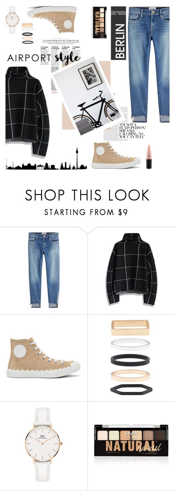 """""""Destination: Berlin"""" by random11-1 ❤ liked on Polyvore featuring Frame, Chicwish, Chloé, Accessorize, Daniel Wellington, NYX, MAC Cosmetics and airportstyle"""