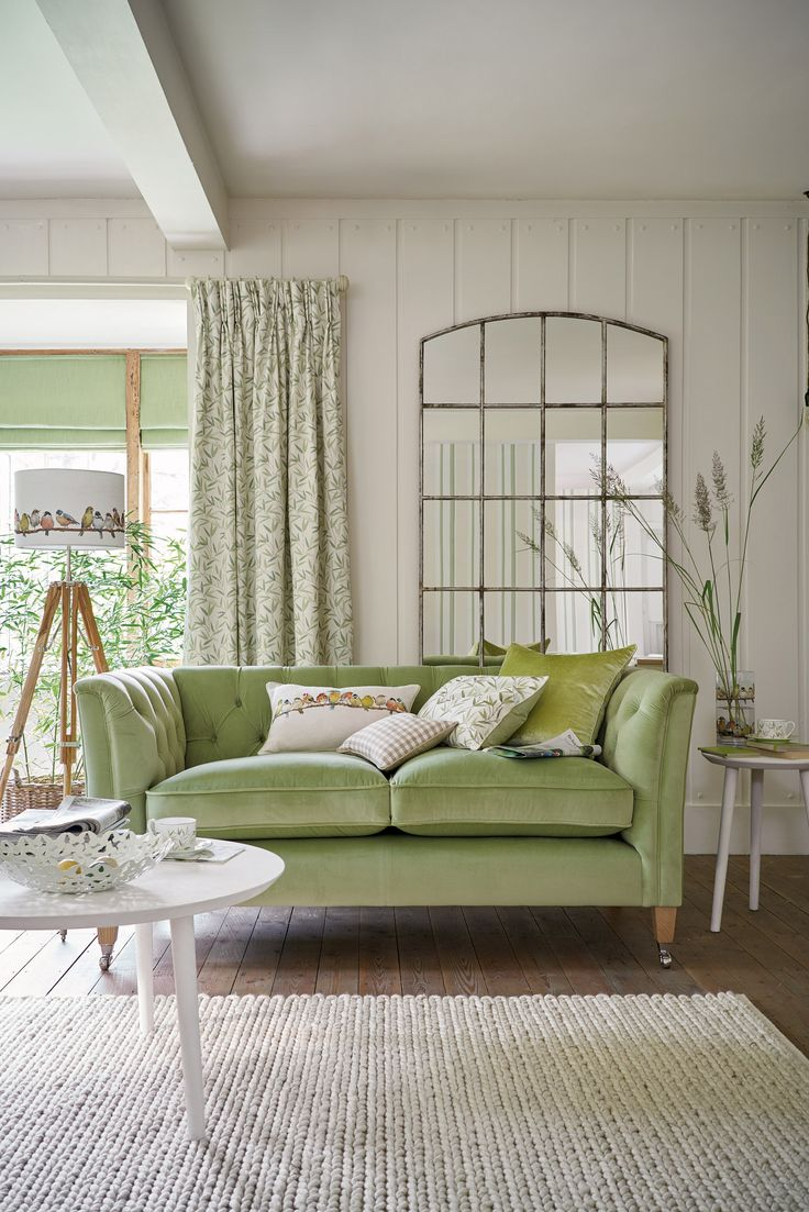 Nice Celery Green Velvet Couch, Lovely For Spring!