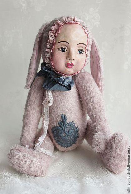 тедди-долл Рождественская Зайка - кремовый,тедди-долл,кукла ручной работы