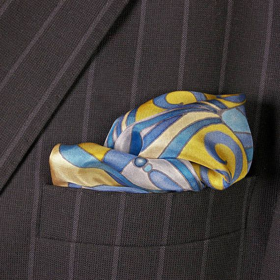 BLUE pocket square SILK Hand painted beige yellow by SilkaShop