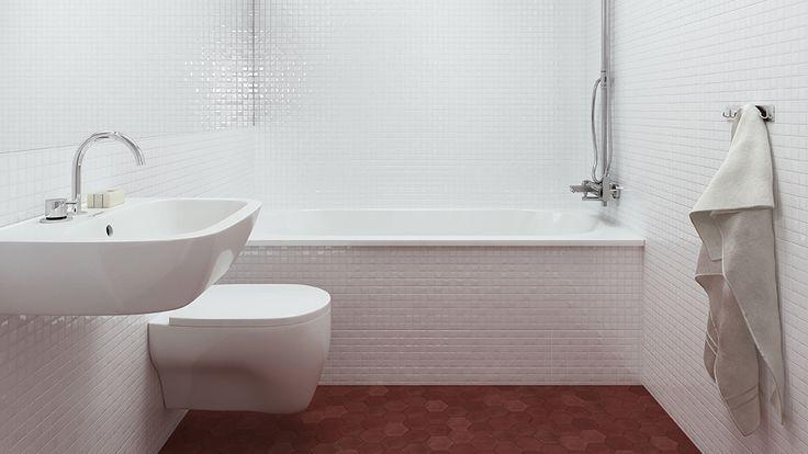 HemnetHemmets runda takfönster ger ett naturligt ljusinsläpp till det funkisinspirerade badrummet med vit mosaik och terrakottagolv. HemnetHemmet är byggt av 200 miljoner klick på Hemnet. Utforska hela huset och berätta vad du tycker om hemmet som flest vill ha mest.