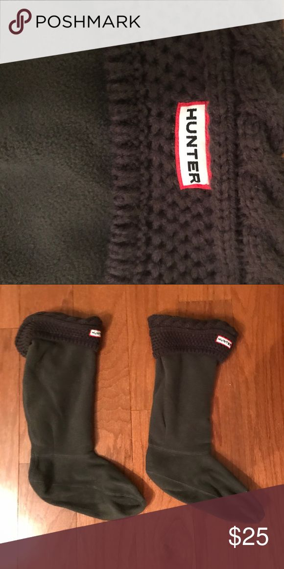 HUNTER rain boot socks Gray with knit top- very lightly worn Hunter Boots Other