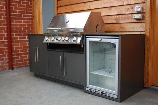 An Aristan MyAlfresco outdoor kitchen installed in Ascot Vale, Melbourne, featuring a Smart barbecue, single door Husky Fridge and cabinetry, starting from RRP $6,999.The all-weather kitchen comes with a 10-year warranty on cabinetry and benchtops.