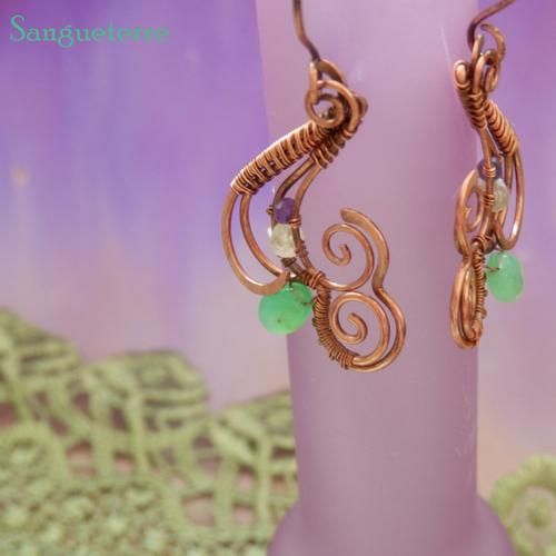 Tossica * nightshade earrings * wirewrapping * wirewrapped * jewelry * copper * romantic * fantasy * fairy * elf * fairytale * magic * art nouveau * handmade