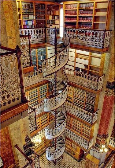 Spiral Staircase in a library.
