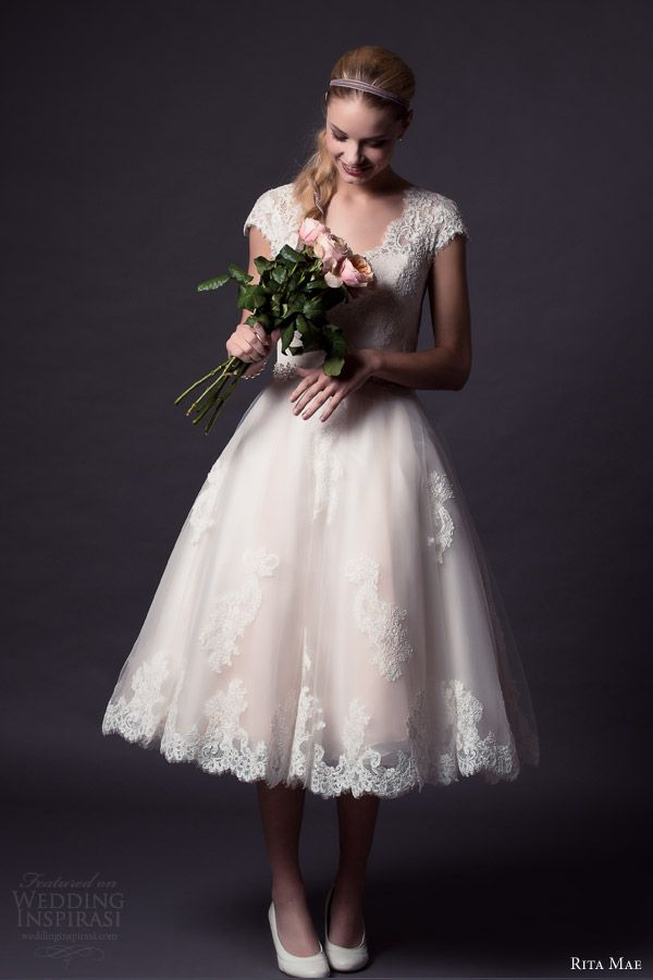 rita mae by alan hannah 2015 bridal short cap sleeve lace wedding dress tea length style 501 front view full