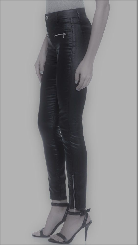 Greywire Chelsea Skinny Black Jeans Quilted Knee Leathery Coated Legging Ankle Z #Greywire #LeggingsSkinny