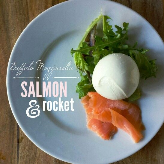 Nothing fancy... just a ball of @casamotta Buffalo Mozzarella, some rocket and a slice of smoked salmon. Voilà!