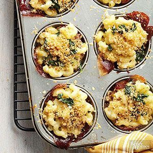 Kids and adults alike will go wild for this individually-portioned muffin tin recipe! Each of these mac and cheese cups is wrapped with a slice of prosciutto to make them easy to eat on the go or with one hand at a cocktail party.