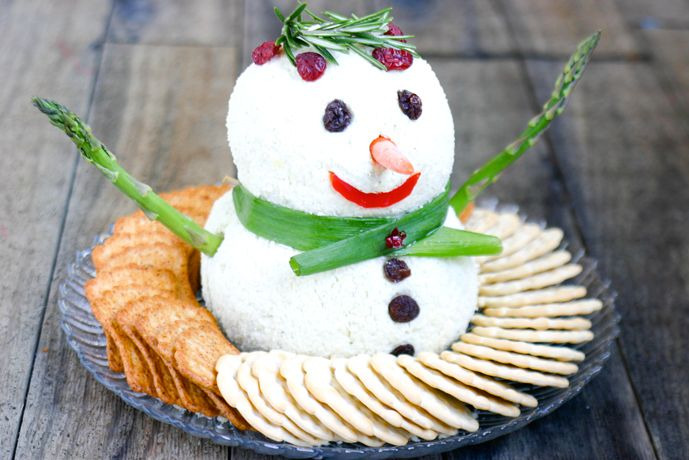 Snowman Cheeseball - 7 Easy Cheese Appetizers for Holiday Parties