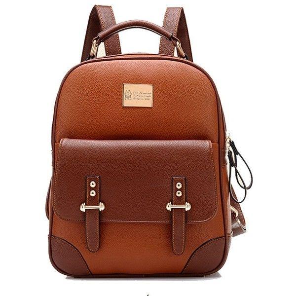 Tinksky New Arrival Korean Fashion Bag Vintage Backpack College... (€30) ❤ liked on Polyvore featuring bags, backpacks, knapsack bag, backpack bags, vintage backpacks, brown bag and daypack bag