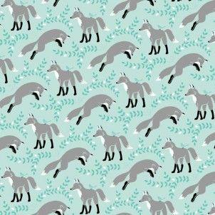 Cute Silver fox. - Michael Miller - Aqua Socks The Fox