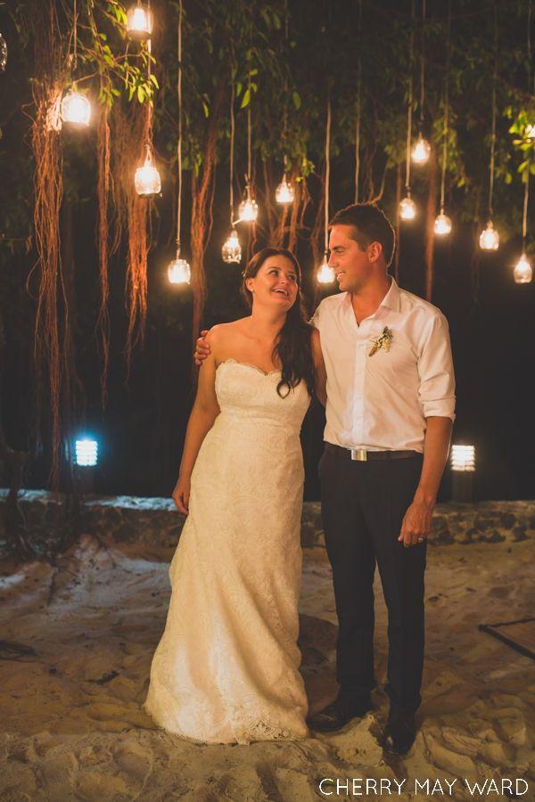 bride and groom reception portrait with lights, Koh Samui wedding photographer