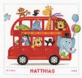 Safari Bus Birth Record: Cross stitch (Vervaco, PN-0147691)