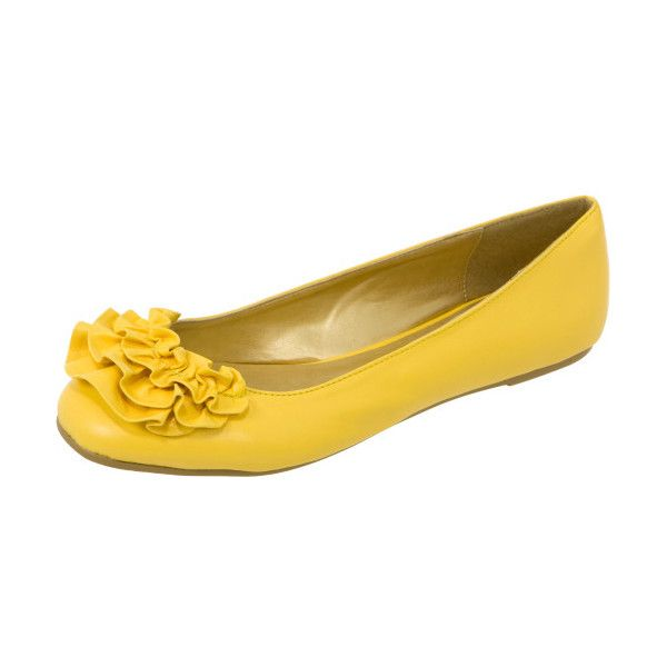 Ruffle Ballet Flats ❤ liked on Polyvore featuring shoes, flats, yellow, yellow ballet flats, metallic shoes, vegan shoes, ballerina shoes and yellow shoes