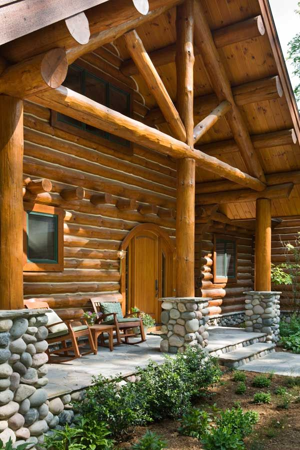 1000 images about porch ideas on pinterest rocking for Log home porches