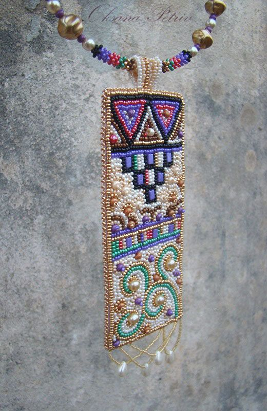 Beaded. Bead Embroidered Necklace. Golden, black, red, purple and green jewelry.