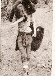 Young Dian Fossey with baby gorilla's