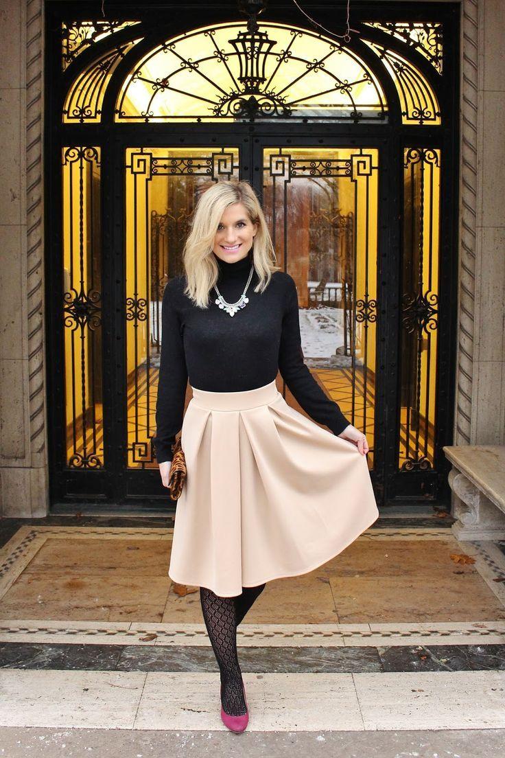 Classy beige skirt and black turtleneck #classylook