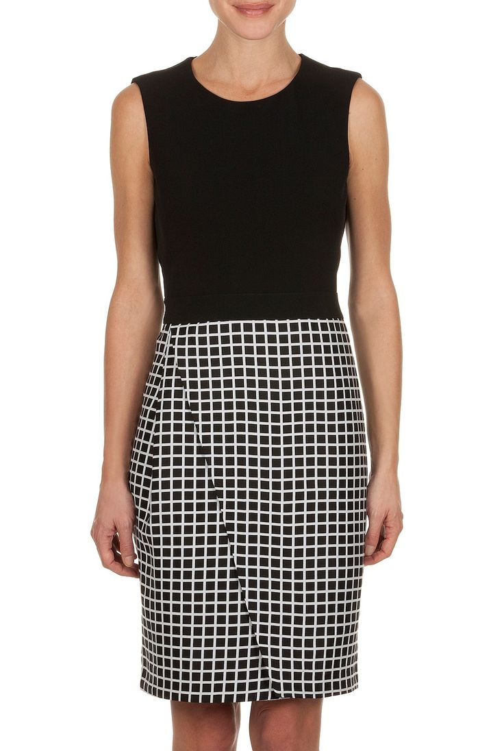 Trenery - sleeveless dress with a grid print skirt
