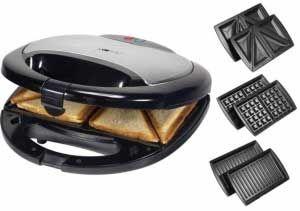 Sandwichera Gofrera Grill Clatronic STWA3490 - 3 en 1  - Sandwichera - Gofrera - Grill marca Clatronic. Practico 3 en 1, Sandwichera - Máquina de Gofres - Parrilla de contacto grill. Carcasa con inserciones de aluminio. Máquina versátil gracias a sus 3 diferentes planchas de cocción anti-adherentes extraíbles intercambiables, para preparar gofres belgas y sabrosas variaciones de sandwiches así como rápida plancha de contacto por ambos lados. 2 indicadores luminosos para encendido y…