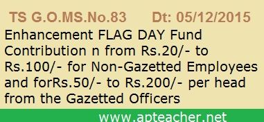 TS GO 83 Armed Forces Flag Day Fund Enhancement to Govt Employees TS GO 83 Armed Forces Flag Day Fund Enhancement for Gazetted and Non-Gazetted Officers, GO 83 Enhancement of the deduction from Rs.20/- to Rs.100/- for Non-Gazetted Employees and from Rs.50/- to Rs.200/- Gazetted, G.O.MS.No. 83 Dt: 05/12/2015