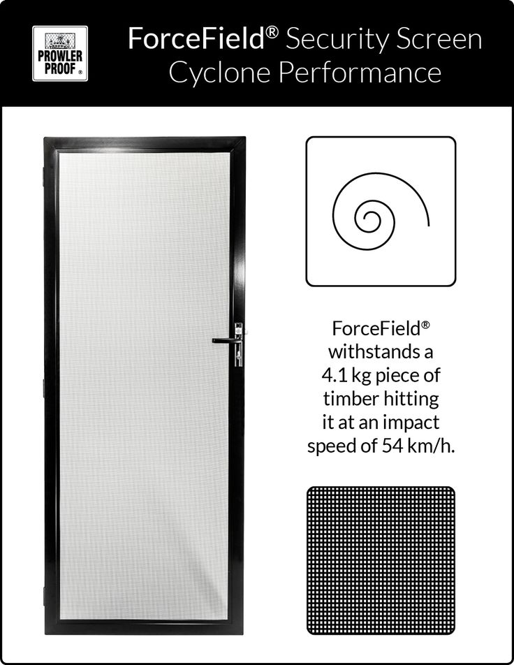 The results of the cyclone test gives you confidence that the Prowler Proof - ForceField® security screen is the strongest residential security screen on the market. Few if any other standard residential security screens have passed this gruelling test. Prowler Proof is a proudly Australian owned company.