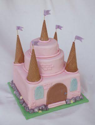 {An Easy} Pink Princess Castle Cake from Rosebakes.com