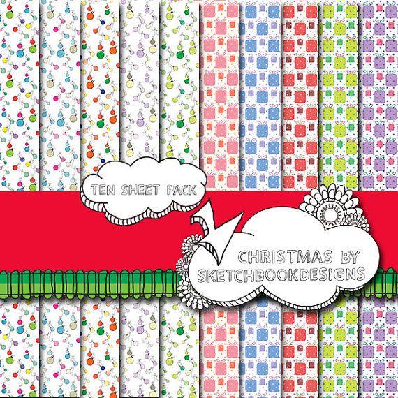 Digital papers  Christmas Patterns  DIY by SketchbookdesignsAu, $3.00