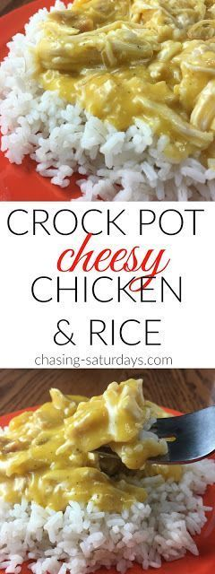 Crock Pot Cheesy Chicken and Rice, slow cooker, easy meals, recipe, cheese, three ingredients, fast dinner