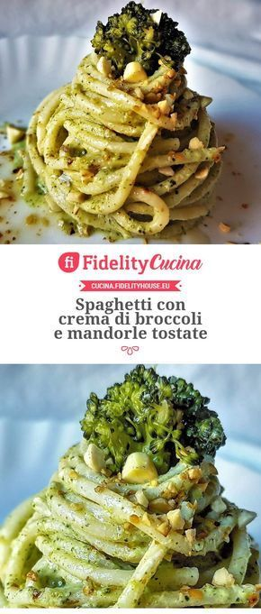 Spaghetti con crema di broccoli e mandorle tostate