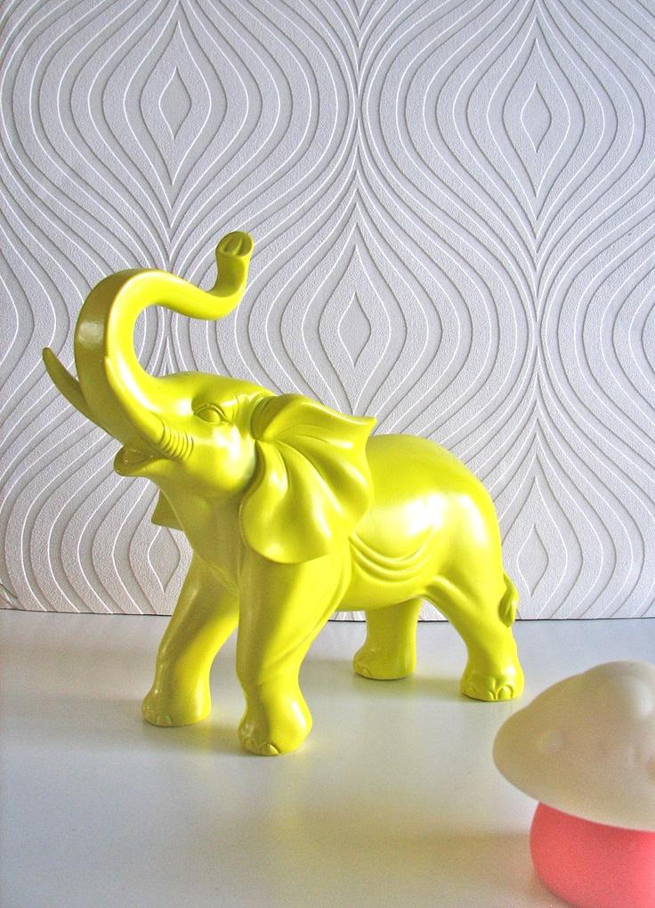 Ollie the fun glossy yellow elephant. $49.00, via Etsy.