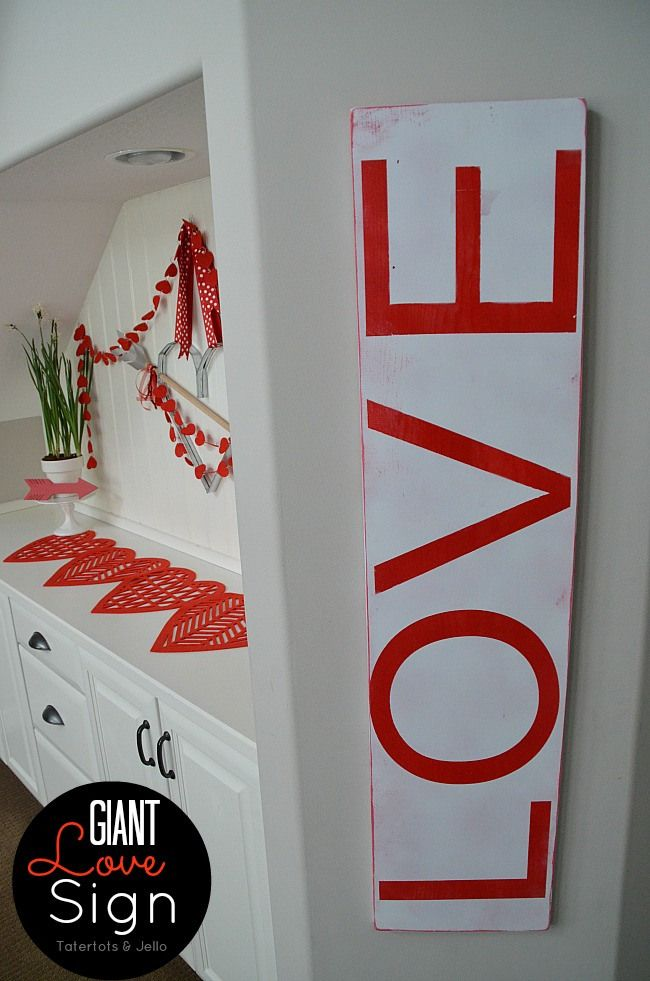 Make a Giant LOVE sign for under $10!! TatertotsandJello.com #DIY #Valentines: Signs, Typographic Sign, Valentines Day, Giant Valentine, Diy, Valentine S, Jello Valentines, Valentine Typographic