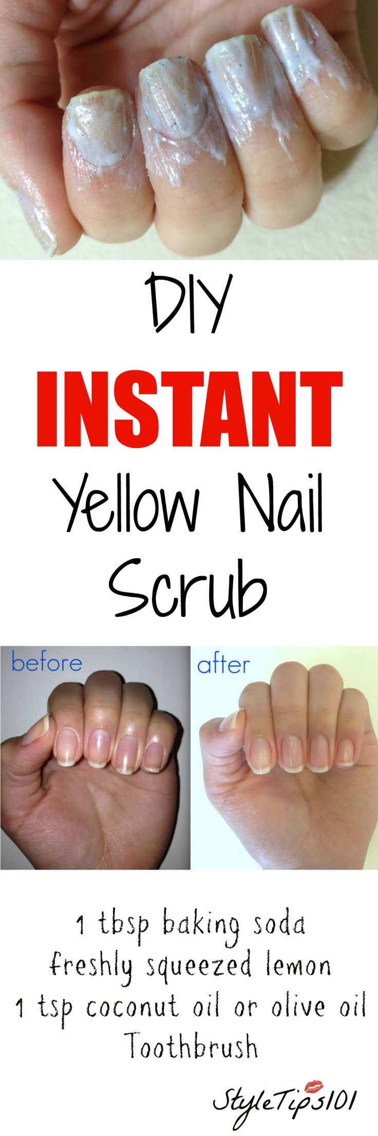 Use an old toothbrush and scrub the paste directly onto your fingernails to see immediate results.