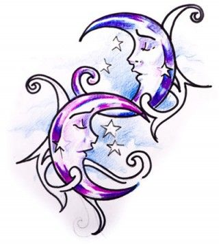 Two intertwined crescent moons