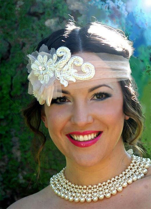 Peach tulle wrapped headband with ivory pearl lace and satin leaves. Gatsby inspired. www.margotarderndesigns.com. Make up by Sam Brill from Sei Bella Beauty Therapy.