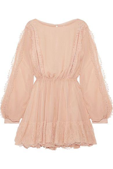 LoveShackFancy - Noelle Lace-trimmed Silk-georgette Mini Dress - Peach - x small