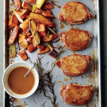 Winter Wonder - Cider-Dijon Pork Chops with Roasted Sweet Potatoes and Apples