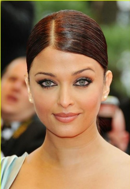 Aishwarya Rai at Cannes: elegant slicked side part + bun