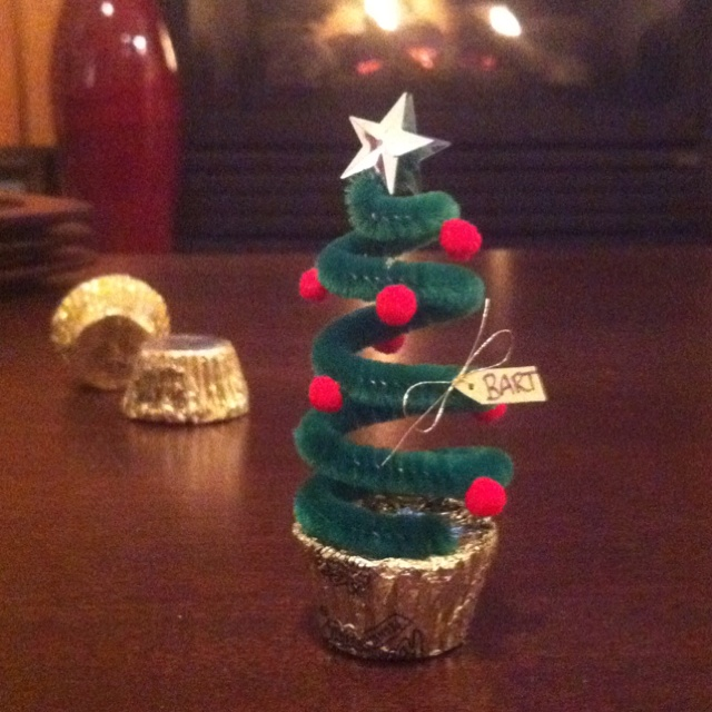 Reese's pipe cleaner Christmas trees - It's become a tradition to make them for my coworkers