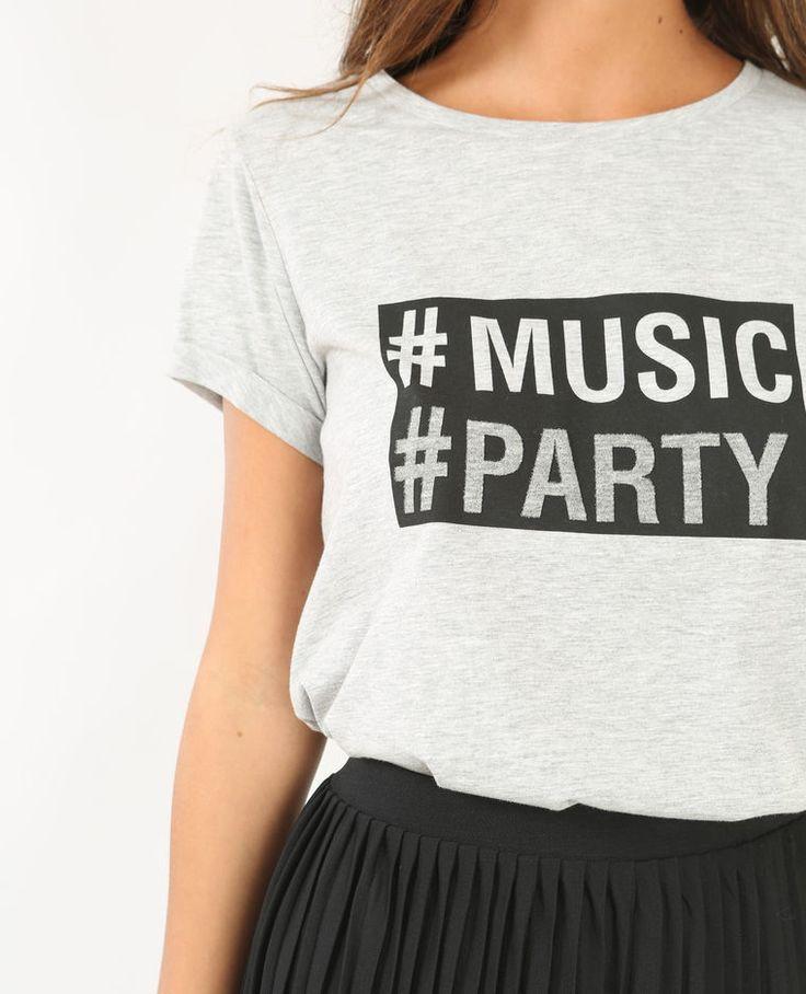 Camiseta con mensaje gris jaspeado