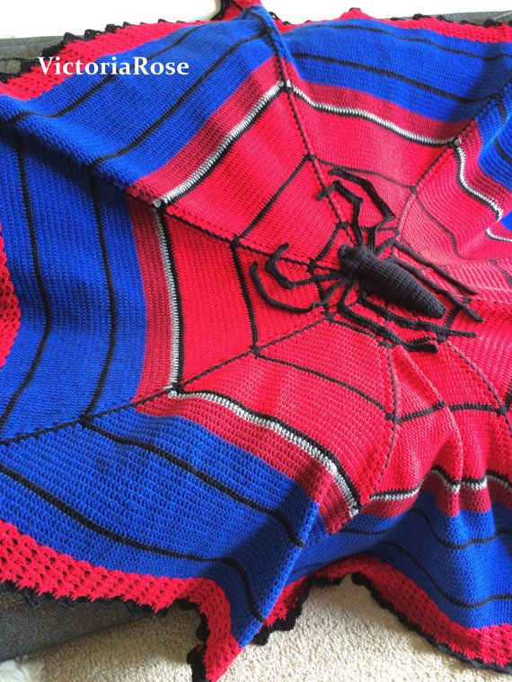 Crochet Spiderman Blanket Pattern Only by VictoriaRoseShop on Etsy