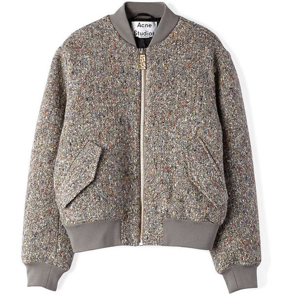 ACNE STUDIOS Tyson Bomber Jacket (960 CAD) ❤ liked on Polyvore featuring outerwear, jackets, coats, tops, coats & jackets, dark multi, bomber jacket, blouson jacket, flight jacket and brown jacket