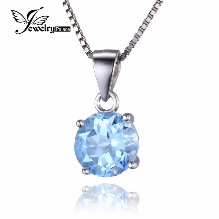 JEWELRYPALACE ROUND 2.5CT NATURAL SKY BLUE TOPAZ BIRTHSTONE SOLITAIRE PENDANT 925 STERLING SILVER DOES NOT INCLUDE A CHAIN