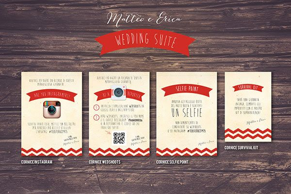 grafica per cornici instagram, wedshoots, selfiepoint, survival kit | Wedding suite matrimonio anni 50