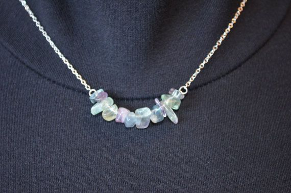 Fluorite Necklace Cluster Crystal Pendant Silver Chain Necklace Chakra Necklace…