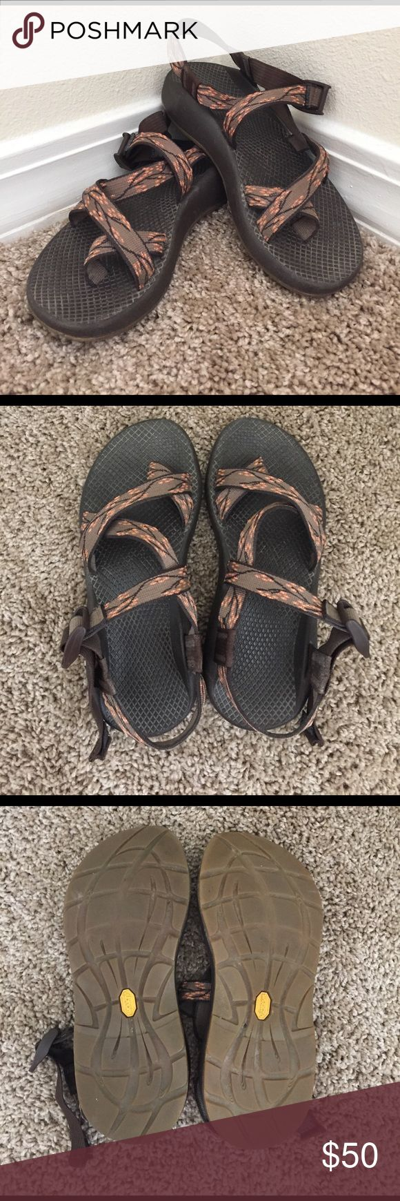 Women's Chaco Sandals Womens Chaco Sandals. Brown and Blossom coloring. Gently used, excellent condition! Perfect for outdoor adventures. Completely customizable with fit of the straps. Chacos Shoes Sandals