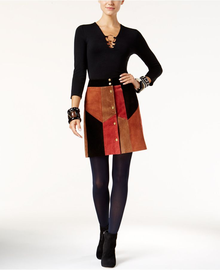 INC International Concepts Hardware Top & Patchwork Skirt, Only at Macy's - INC Looks We Love - Women - Macy's