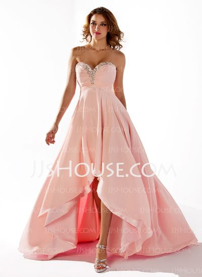 Prom Dresses - $120.49 - Empire Sweetheart Asymmetrical Chiffon Prom Dress With Ruffle Beading (018020806) http://jjshouse.com/Empire-Sweetheart-Asymmetrical-Chiffon-Prom-Dress-With-Ruffle-Beading-018020806-g20806