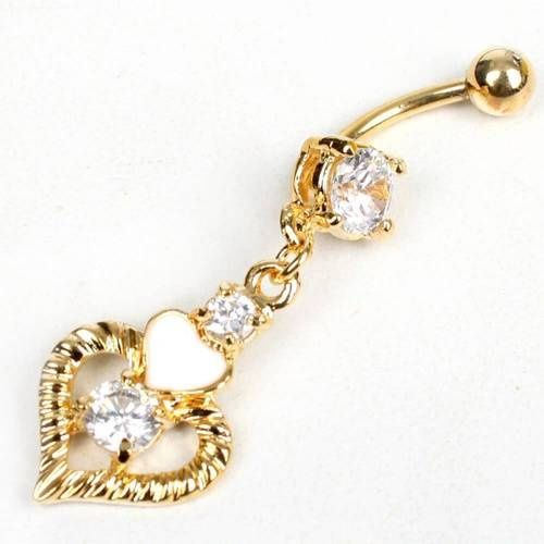 Heart Gold Clear Body Jewelry Crystal Navel Piercing Belly Button Ring body-jewelry: Gold Clear, Piercing Belly, Jewelry Crystals, Belly Buttons Rings, Crystals Navel, Heart Gold, Navel Piercing, Belly Button Rings, Body Jewelry